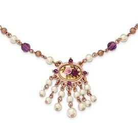 Rosetone Simulated Pearl Acrylic & Enamel Flower Necklace - 16in