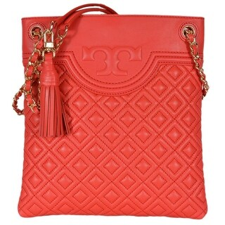 "Tory Burch Fleming Red Volcano Swingpack Leather Crossbody Shoulder Bag - 9.5""l x 10.3""h x 0.8""w"