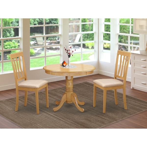 3 PC Oak Kitchen Table Set Including 1 Small Kitchen Table plus 2 Dining Chairs (Finish Option). Opens flyout.