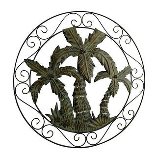 Antique Bronze Scroll Motif Tropical Palm Trees Wall Hanging - Green