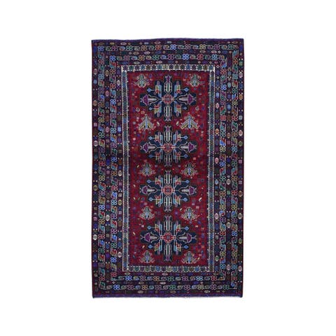 """Shahbanu Rugs Red Afghan Baluch With Repetitive Design Pure Wool Hand Knotted Oriental Rug (3'10"""" x 6'5"""") - 3'10"""" x 6'5"""""""