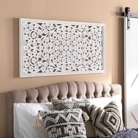 Allen White Washed Hand Carved 48x28-inch Wall Panel with Mirror Inlay
