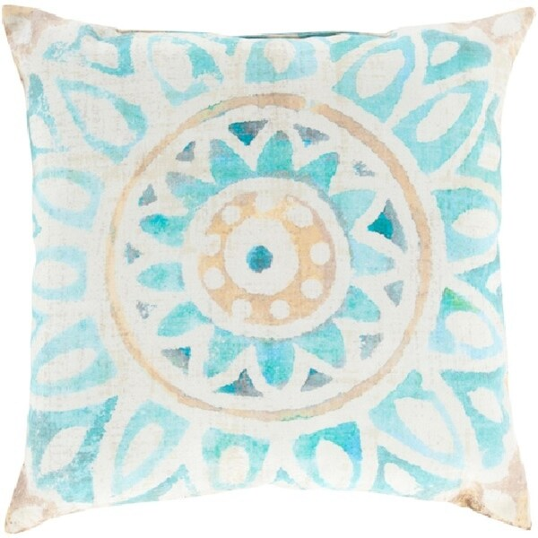 "20"" Cheerful Peach and Blue Floral Indoor/Outdoor Decorative Throw Pillow"