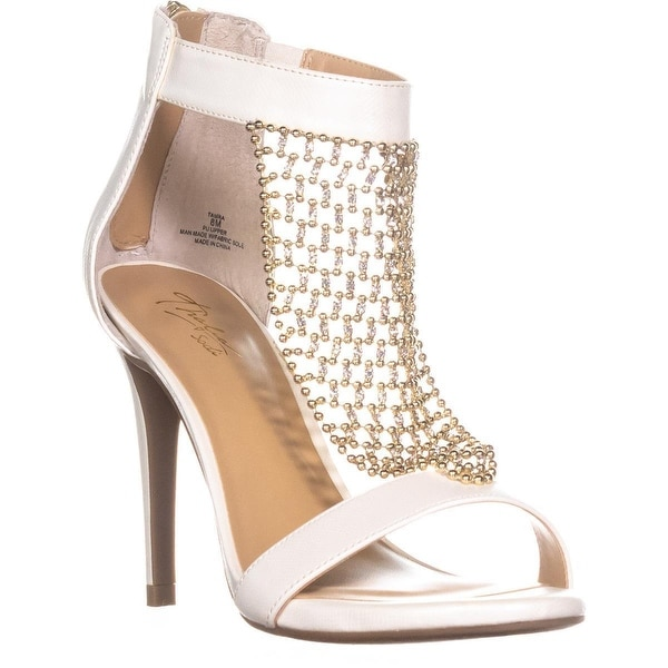 TS35 Tamra Zip Up Ankle Strap Sandals, White Lizard