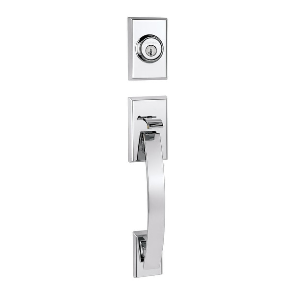 Kwikset 800TVH-LIP-S Tavaris Single Cylinder Sectional Contemporary Handleset with SmartKey, Exterior Only