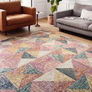 Link to Alexander Home Kaleidoscope Geometric Hand-Hooked Wool Rug Similar Items in Rugs