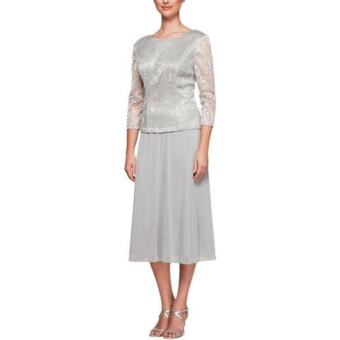 Alex Evenings Womens Petites Special Occasion Dress Metallic Midi