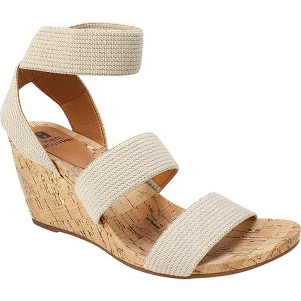 b5b239dc84 White Mountain Women's Phelix Ankle Strap Wedge Sandal Natural Fabric
