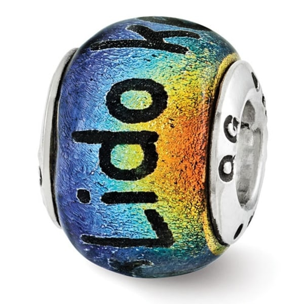 Sterling Silver Reflections Lido Key Dichroic Glass Bead (4mm Diameter Hole)