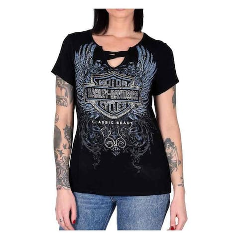 Harley-Davidson Women's Classic Beauty Embellished Scoop Neck Tee, Black