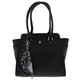 London Fog Womens Sophia Tote Handbag Signature Textured - Large