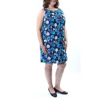 TOMMY HILFIGER Womens Blue Tie Floral Sleeveless Jewel Neck Above The Knee Shirt Dress  Size: XL