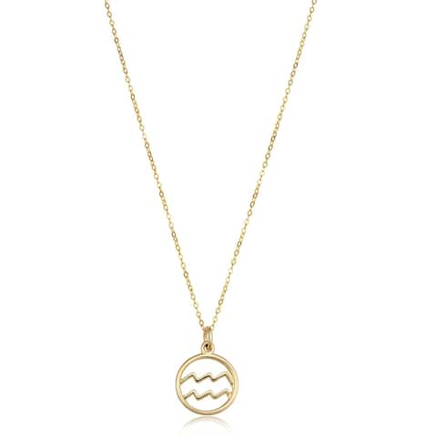 """Zodiac Celestial 14K Yellow Gold Necklace 17"""" Chain by Joelle Collection"""