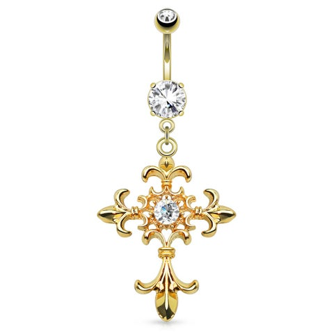Fleur De Lis Cross With Centered Clear Gem Dangle gold-plated Navel Ring