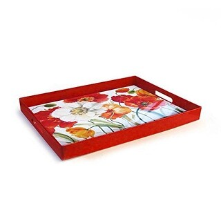 American Atelier Poppies Melody Rectangle Tray, Red
