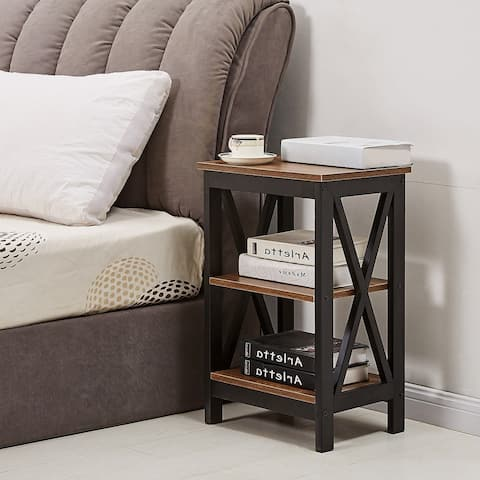 VECELO 3-Tier Nightstand/Bedside Table/Sofa Table/End Table X-FrameBlack/Brown 2 Options