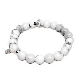 "White Howlite Lucy 7"" Sterling Silver Stretch Bracelet"