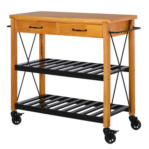 "HOMCOM 46"" Rolling Kitchen Storage Island on 360? Swivel Wheels Dining Cart Organizer for Kitchen Rubber Wood"
