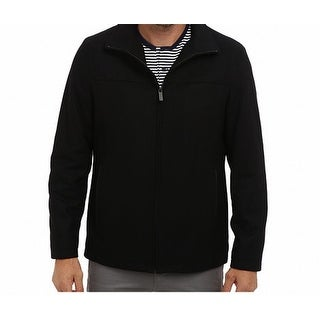 Perry Ellis NEW Black Mens Size XL Wool Blend Faux-Leather Trim Jacket