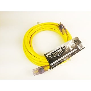 Bold 25' 10/3 AWG SJTW Contractor Grade Lighted Extension Cord, Yellow