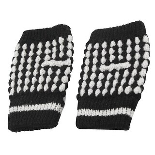 Unique Bargains Women Black White Thumb Hole Stretchy Knitted Fingerless Gloves Pair