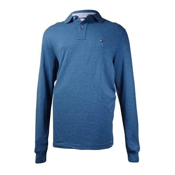 d97f9c6a Shop Tommy Hilfiger Men's Long-Sleeve Classic-Fit Polo Shirt (Real Teal,  LT) - real teal - lt - Free Shipping Today - Overstock - 15016523