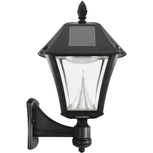 Gama Sonic 105033 Baytown II Solar Outdoor LED Light Fixture, Pole/Post/Wall Mount Kit, Black Resin