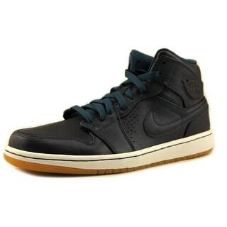 Nike Air Jordan 1 Mid Nouveau Men  Round Toe Leather Blue Basketball Shoe