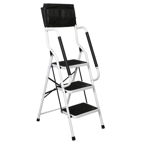 Folding 3-Step Safety Step Ladder - Padded Side Handrails - Attachable Tool Pouch Caddy - White - 19.5 in. x 26 in. x 54.75 in.