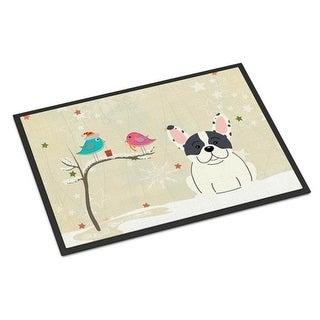 Carolines Treasures BB2483MAT Christmas Presents Between Friends French Bulldog Piebald Indoor or Outdoor Mat 18 x 0.25 x 27 in.