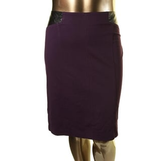 Laundry by Shelli Segal Womens Faux Leather Trim Above Knee Pencil Skirt