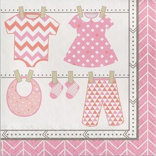 """Club Pack of 192 Pink and Ivory Bundle of Joy Baby Girl Disposable Luncheon Napkins 6.5"""""""