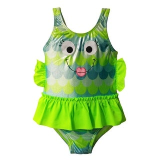 Girls One Piece Tank Strap Fish Face - UPF 50+ Sun Protection