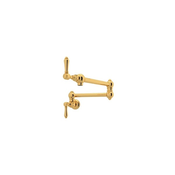 Rohl A1451LM-2 Country Kitchen Wall Mounted Pot Filler Faucet with Metal Lever Handles and Dual Shut Off