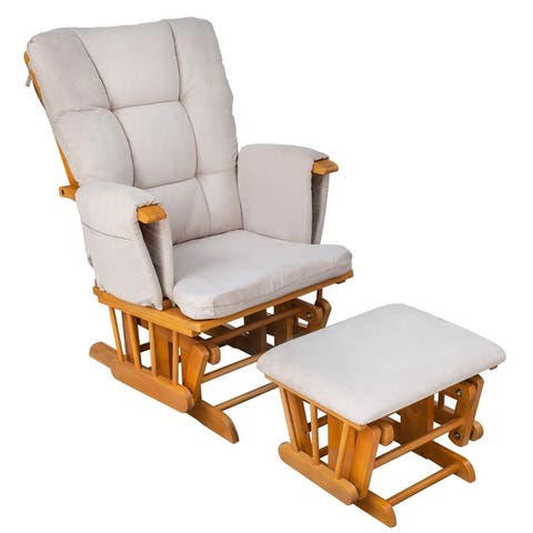 HOMCOM Indoor 2 Piece Glider & Ottoman Adjustable Reclining Function with Rubber Wood Base and Cushion, Rocker