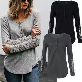 Casual Loose Long Lace Sleeve Top T Shirt