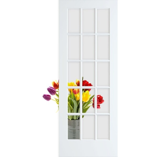 """Frameport CGL-PD-15L-6-2/3X3 Clear Glass 36"""" by 80"""" 15 Lite Interior Slab French Door"""