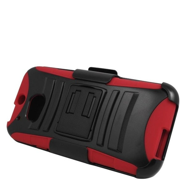 Insten Hard PC/ Silicone Dual Layer Hybrid Case Cover with Stand/ Holster For HTC One M8