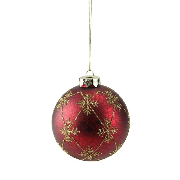"Burgundy Red with Gold Glitter Snowflakes Mercury Glass Ball Christmas Ornament 3.25"" (80mm)"