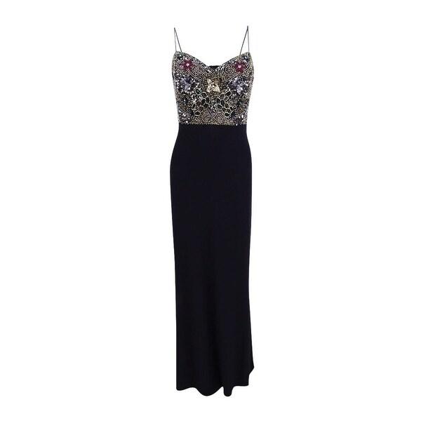 Adrianna Papell Women\'s Sleeveless Beaded Bodice Gown - Black - Free ...