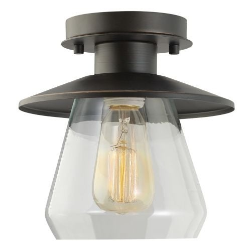Globe Electric 64846 1 Light Semi-Flush Mount Ceiling Light Fixture with Clear Glass Shade