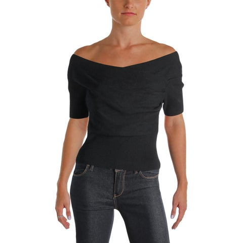 Michelle Mason Womens Crop Sweater Ribbed Knit Crossover