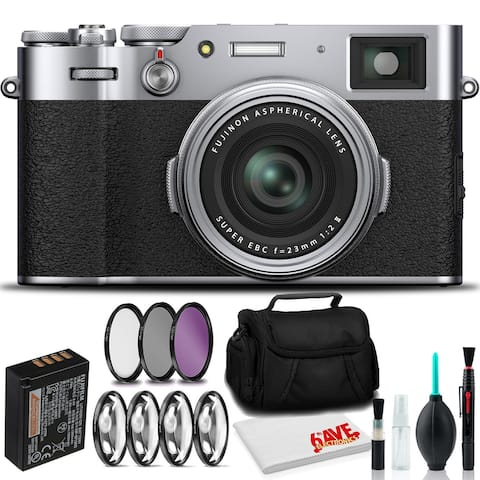 FUJIFILM X100V Digital Camera (Silver) with Filter Kits, Case, and