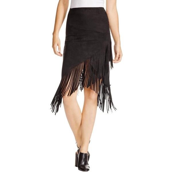 Aqua Womens Asymmetrical Skirt Faux Suede Fringe