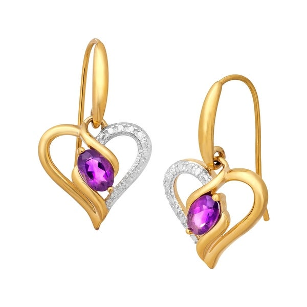 3/4 ct Natural Amethyst Heart Drop Earrings in 18K Gold-Plated Brass