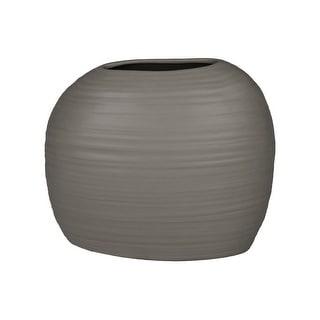 Ceramic Short Irregular Vase With Combed Design, Gray