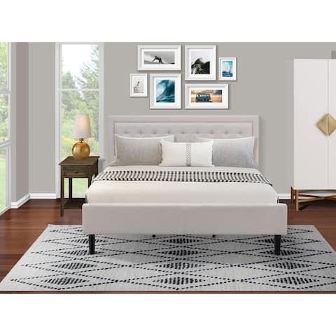 Platform King Bedroom Set with Platform Bed and Bedroom Nightstand - Mist Beige Linen Fabric - ( End Table Piece Option )