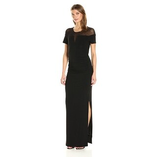 Laundry by Shelli Segal Jersey Illusion Neckline Short Sleeve Evening Gown Dress - 8