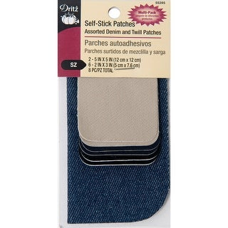 Dritz Self-Stick Patches 8/Pkg-Assorted Twill And Denim
