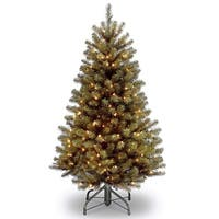 4.5' Pre-lit North Valley Spruce Artificial Christmas Tree – Clear Lights - green